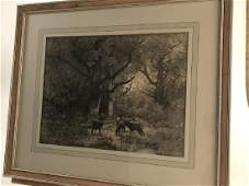 Fine Framed Etching Artist Unknown Deer Woods