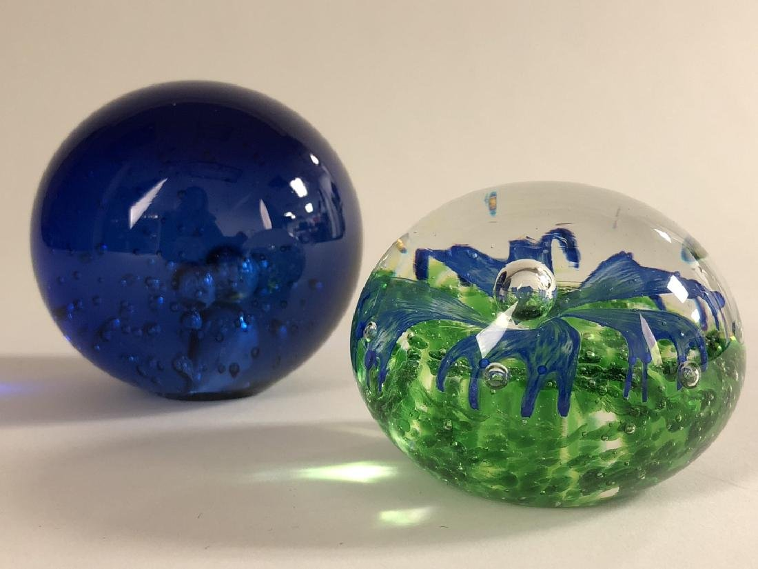 Lot of 2 Vintage Glass Blown Paperweights