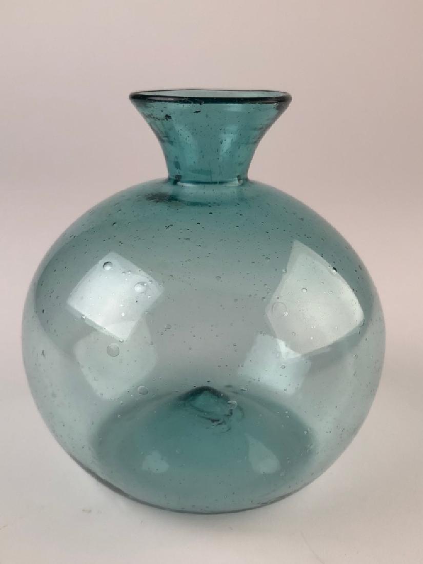 Antique Hand Blown Green Bottle Glass Vase