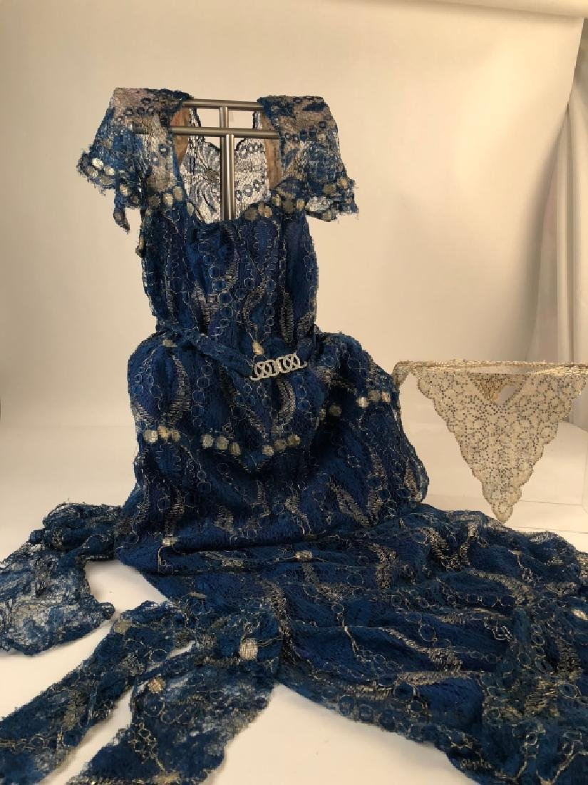 Vintage Dress, Gauntlets & Matching Hair Comb