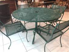 MidCentury Metal Mesh Round Patio Table  4 Chairs