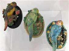 3 Vintage Cast Iron Parrot Bird Door Knockers