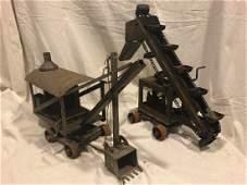 2 Keystone 1920's Metal Toy SteamShovel & Conveyor
