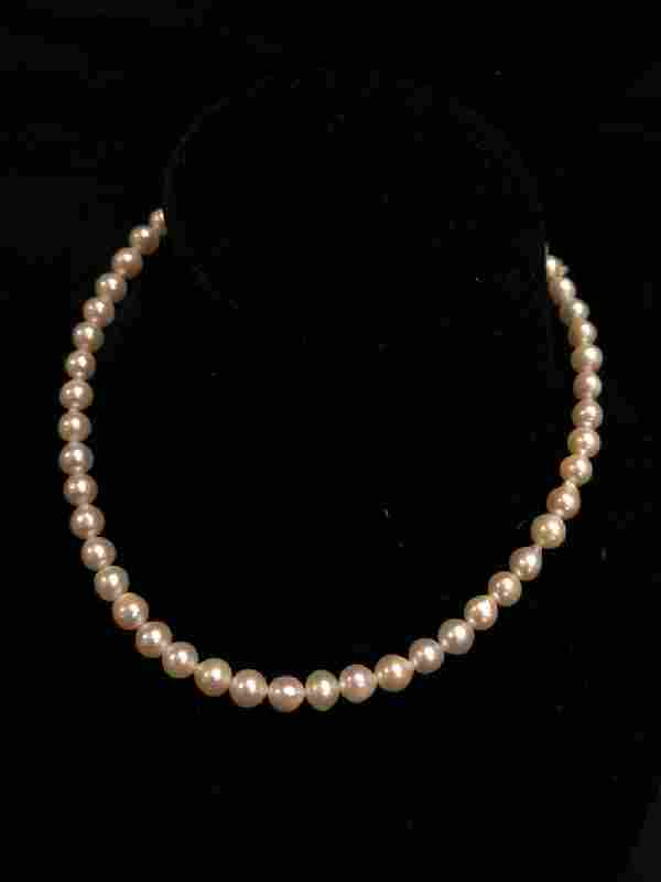 Classic Vintage Cultured Pearl Necklace 14k Clasp