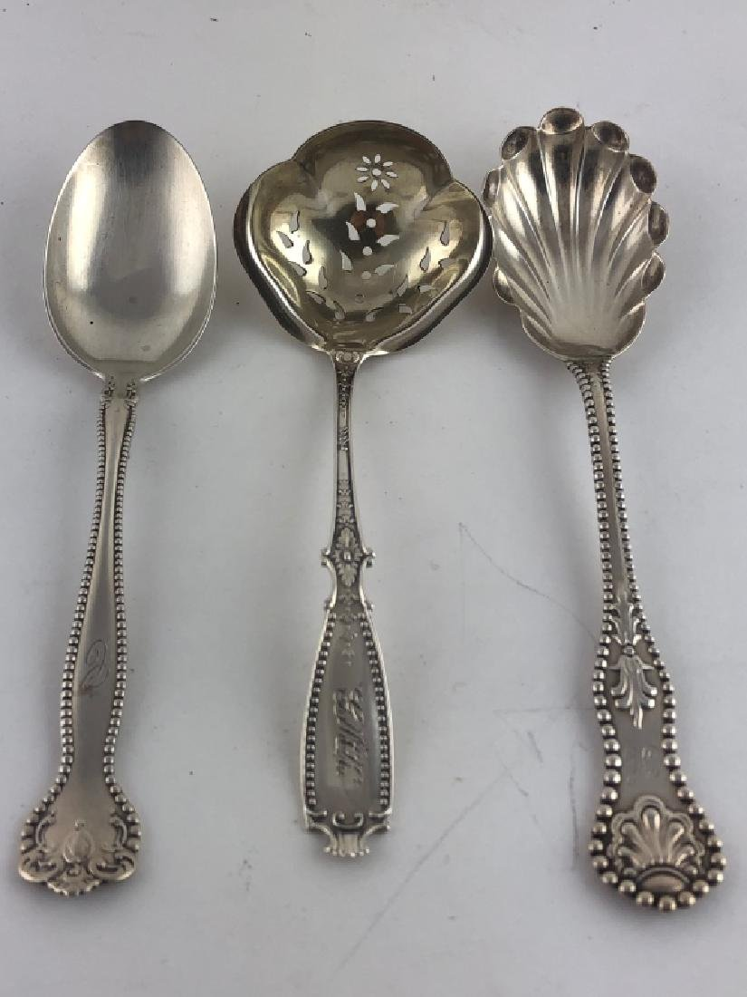 3 Unique Assorted Sterling Silver Serving Spoons