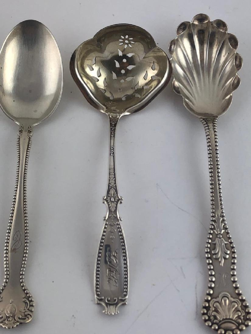 3 Unique Assorted Sterling Silver Serving Spoons - 2