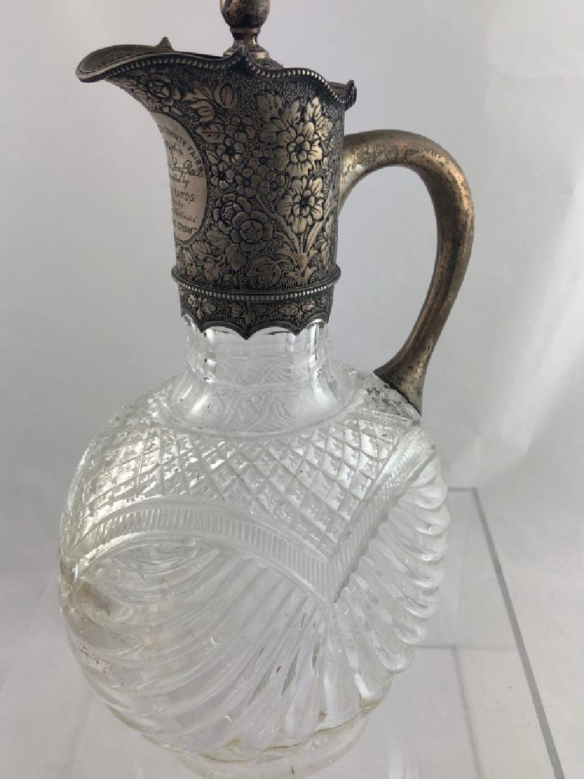 Gorgeous Rare Sterling Silver & Crystal Pitcher - 7