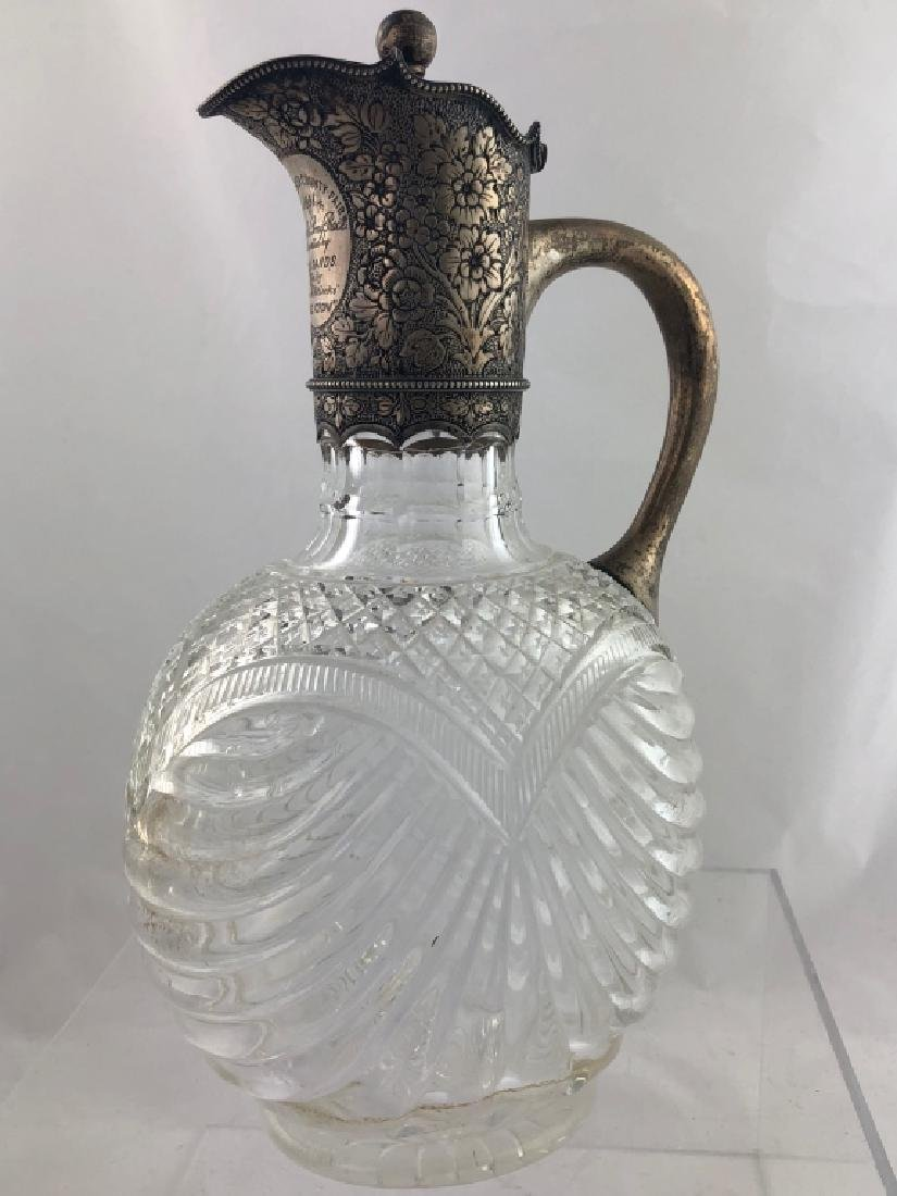 Gorgeous Rare Sterling Silver & Crystal Pitcher - 8