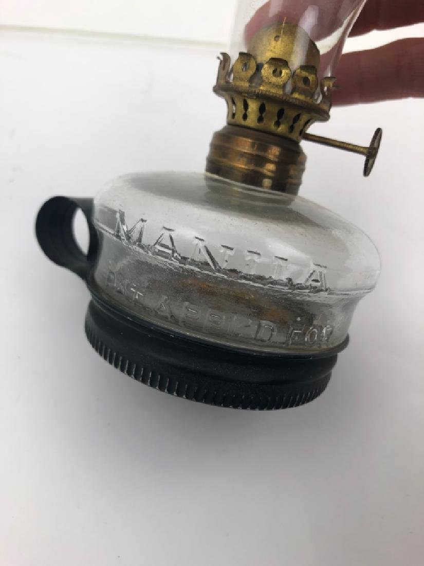 Lot of 3 Miniature Finger Glass Oil Lamps - 10