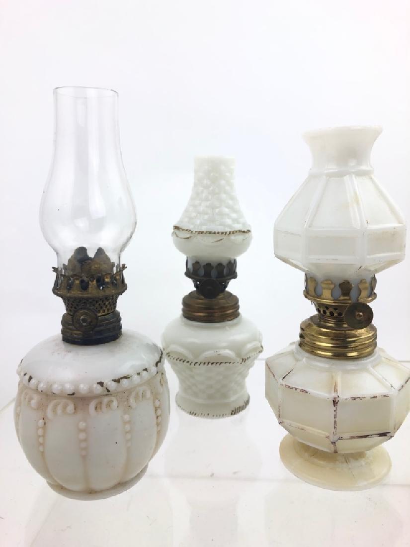 3 Antique Victorian Milk Glass Oil Lamps
