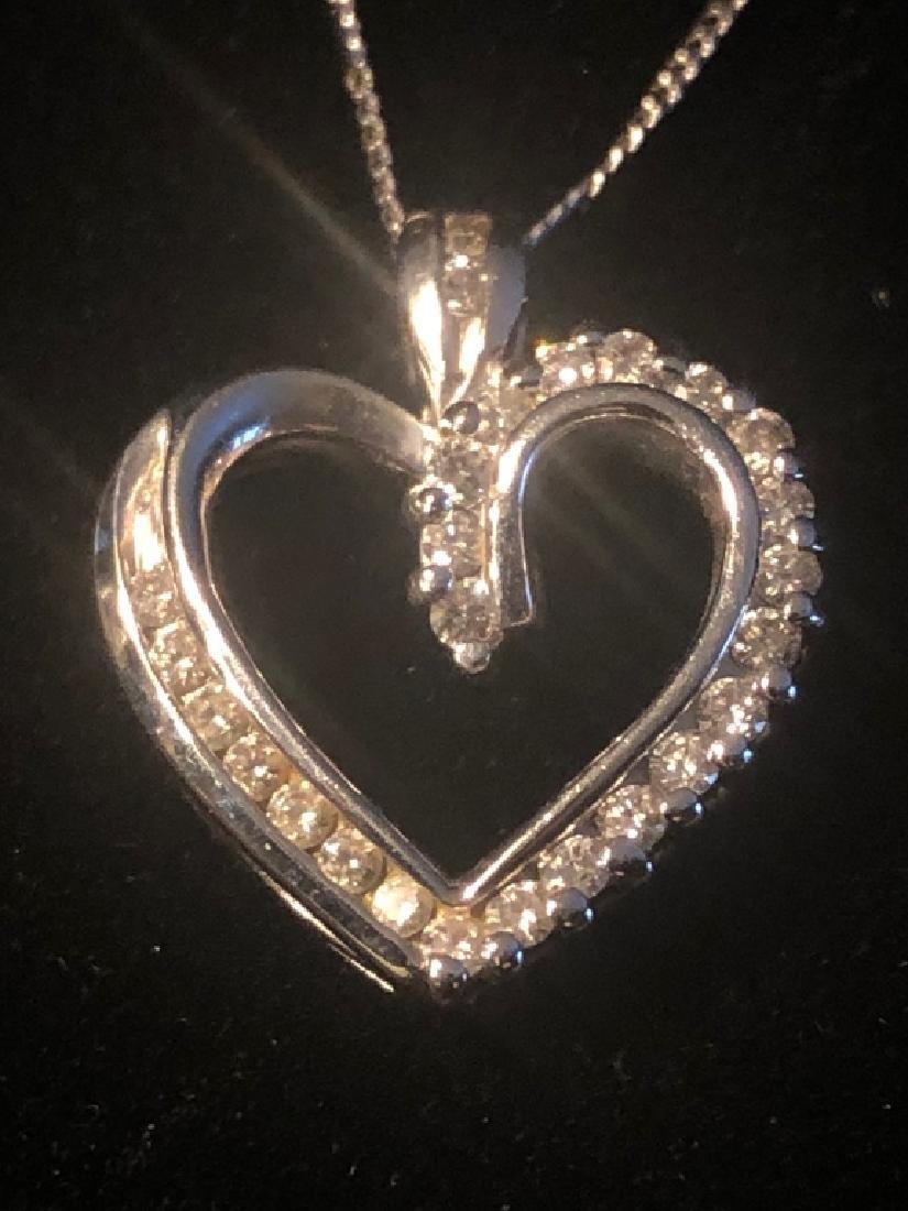 Ladies 14k White Gold Heart Shaped Diamond Pendant