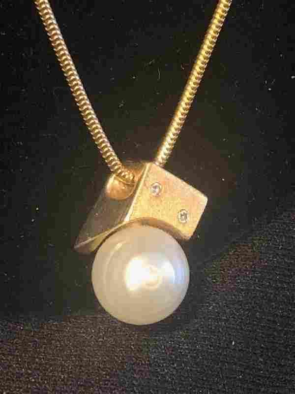 14k YG Cultured Pearl w/ Diamond Pendant Necklace