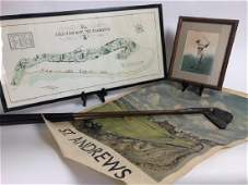 5 Vintage St .Andrews Golf Prints, Map & Clubs