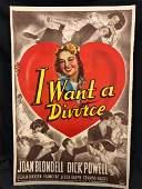 Original 40s Movie Poster Canvas I Want A Divorce