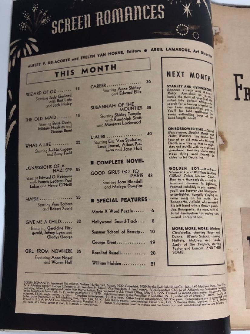 "Rare 1939 ""Screen Romances"" Oz Cover Magazine - 6"