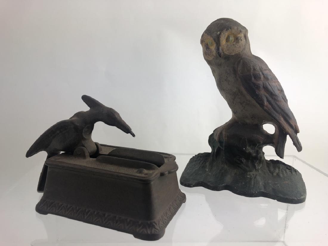 Rare Cast Iron Toothpick Dispenser & Owl Doorstop