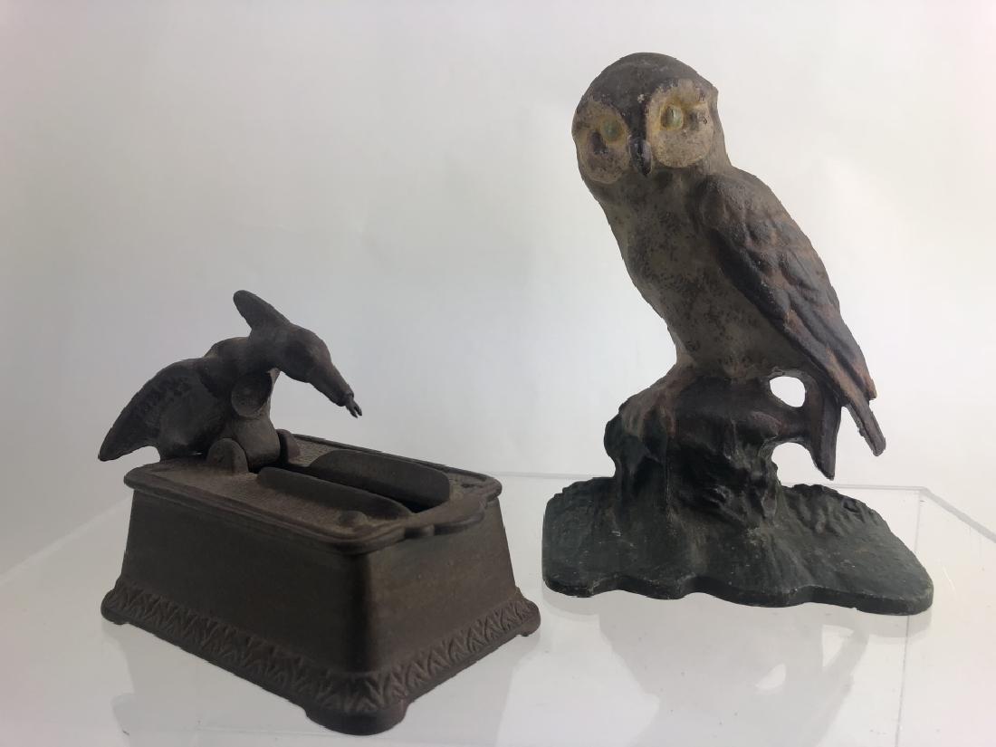 Rare Cast Iron Toothpick Dispenser & Owl Doorstop - 4