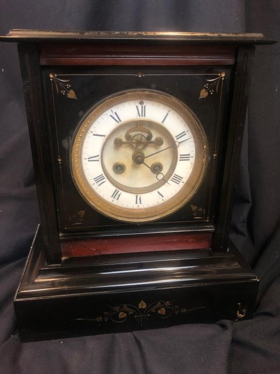 French Sq. Black w/ Red Accent Marble Mantle Clock