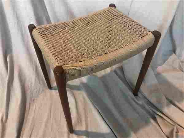 Rare MCM Danish Modern Teak & Rope Woven Bench
