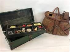 Vintage Green Wood Tackle Box & Woven Creel Basket