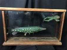 Antique Wooden Diarama Fishing Box Fish & Frog