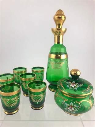 Bohemian Emerald Glass Decanter, Cordials &