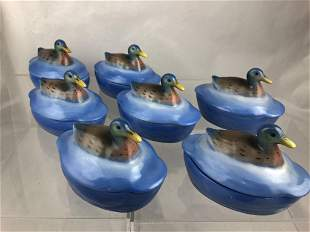 Set of 7 Vintage Ramekins w/ Mallard Duck Lids