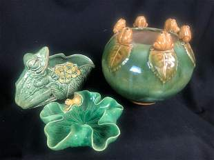 Group of 3 Pottery Pieces w/ Frog Accents