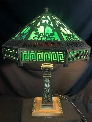 Green Art Deco Lamp & Shade Laurel GreekKey Design