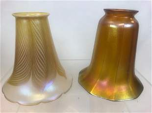 2 Iridescent Gold Aurene Art Glass Trumpet Shades