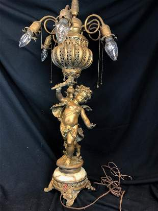 6 Arm Cherub Gold w/ Marble Base Table Lamp