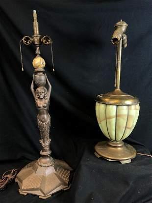 2 Antique Metal Lamp Bases (Art Deco / Slag Glass)