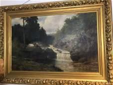 Lg. Oil on Canvas Landscape Stream Waterfall