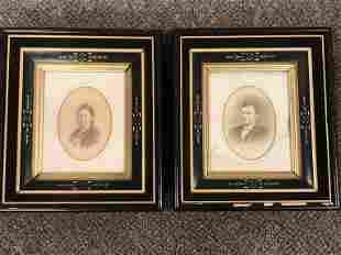 Pr. of Eastlake Frames w/ Antique Portrait Photos
