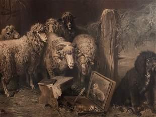 """Exceptional 1870 Signed Otto Gebler """"Sheep"""" Framed"""