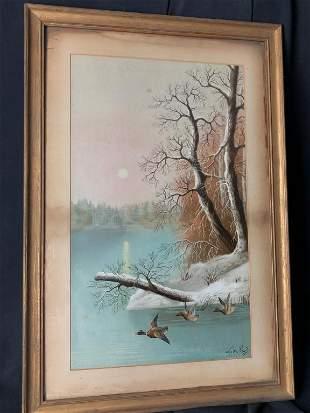 Signed Le Roy Watercolor Winter Landscape w/ Ducks