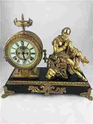 Antique Ansonia Figural Shakespeare Mantle Clock