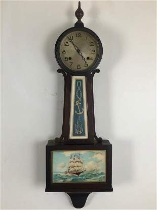 New Haven 8 day Time & Strike Banjo Wall Clock