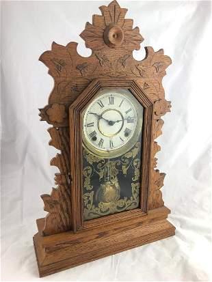 Gilbert Oak Gingerbread 8 Day Time & Strike Clock