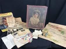 Victorian Scrapbook w/ Postcards, Labels, Adv &