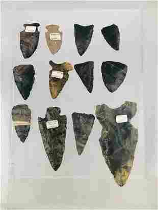Box of 12 Native American Spear & Arrow Heads