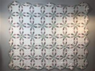Handmade Antique Double Wedding Ring Quilt Floral