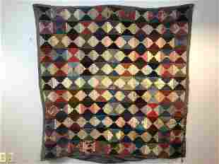 Antique Handmade Log Cabin Style Quilt