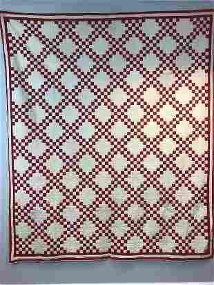 Red White Check Double Irish Chain Handmade Quilt