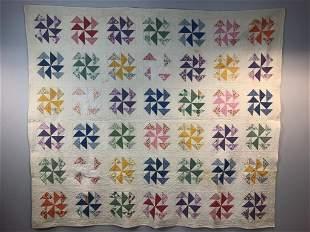 Handmade Antique Quilt Pinwheel Multi Colored