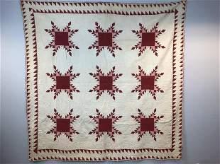 Fabulous Antique Handmade Feather Star Quilt