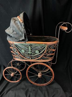 Victorian Doll Carriage Buggy Wicker Metal Scroll