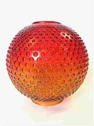 """Hobnail Amber to Red Glass 9"""" Ball Shade"""