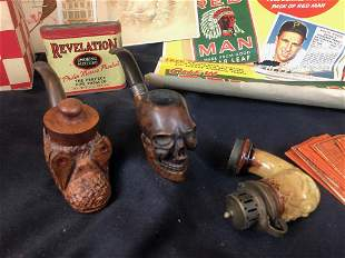Vintage Tobacco Lot w/ Pipes, Bowl, Advertising &