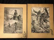 Pr of WWI French Lithos Signed Lucien Jonas